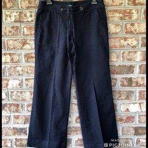 J. Crew Favorite Fit Navy Linen Blend Pants Sz 4